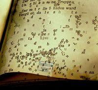 Die Wörter verlassen das Buch.