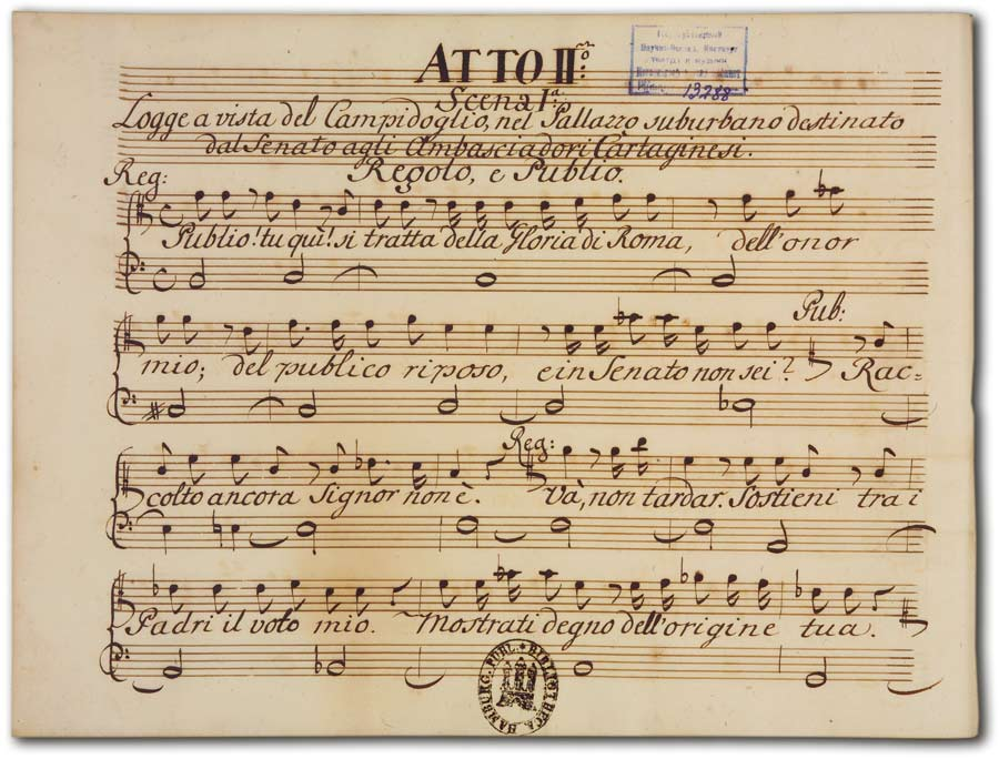 J. A. Hasse: Leucippo (Fassung 1747), D-Hs, ND VI 2943, Bd. 2, fol. 1r