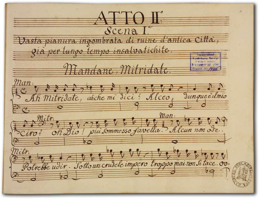 J. A. Hasse: Ciro riconosciuto (Fassung 1747), D-Hs, ND VI 2933a, Bd. 2, fol. 1r