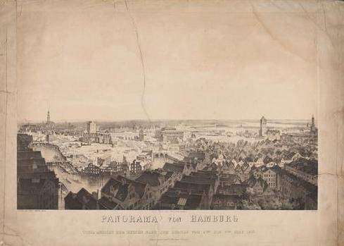 Wilhelm Heuer (1813–1890): Panorama Von Hamburg. Total-Ansicht der Ruinen, Nach Dem Brande Vom 5-ten bis 8-ten May 1842 aufgenommen vom St. Catharinen Thurme