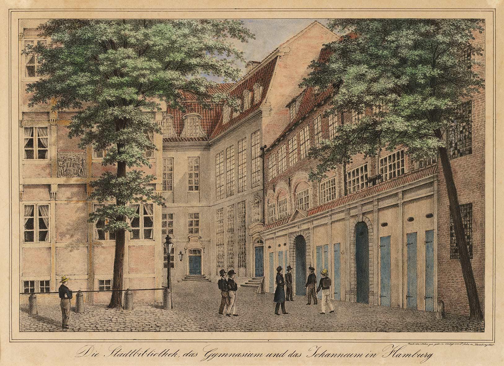 Bibliotheksgebäude von 1745, von der Seite des Plans, Stich um 1840