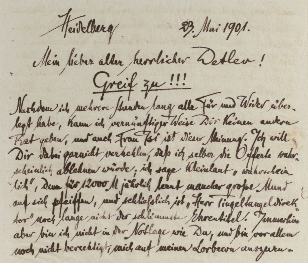 Letter Richard Dehmel
