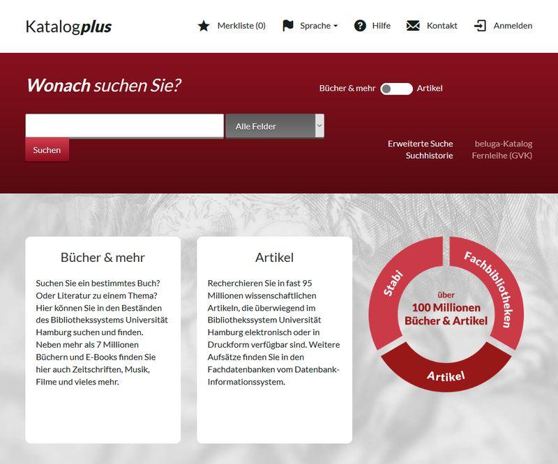 Katalogplus - Katalog des Bibliothekssystems Universität Hamburg